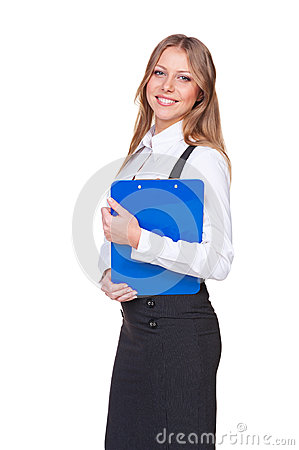 Woman holding the writing pad and smiling