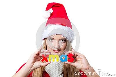 Woman holding Xmas text