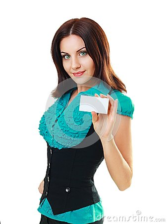 Woman holds out a business or credit card