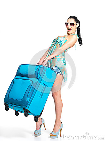 Free Woman Holds The Heavy Travel Suitcase Stock Photo - 28773950
