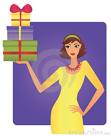Woman holidng a load of gifts