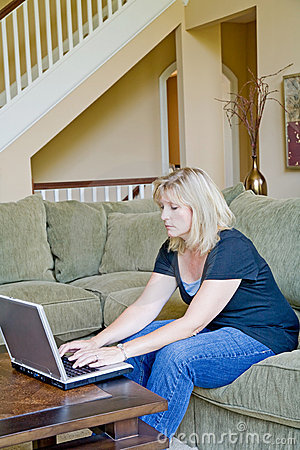 Woman at Home on Computer