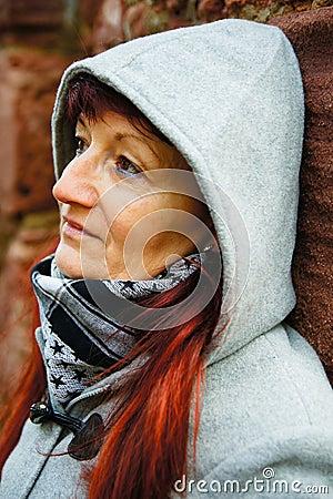 Woman with hood