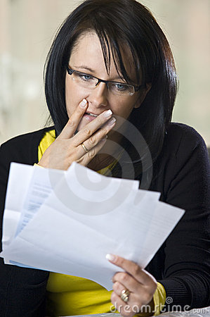 Free Woman Horrified By Bills Royalty Free Stock Images - 7711889