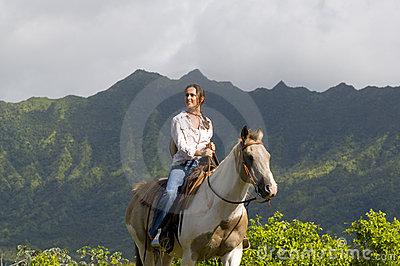 Woman horse riding