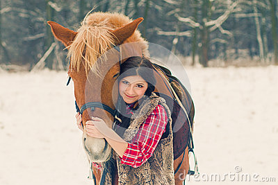 Woman with a Horse the Snow
