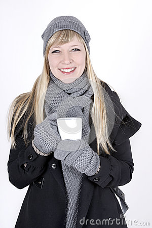 Woman with hot beverage