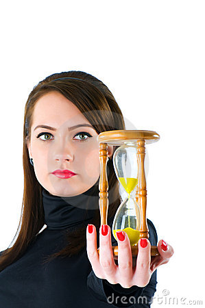 Woman with hourglass isolated