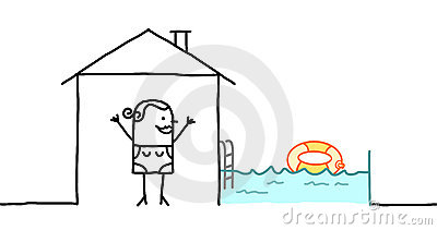 Woman & house with swimming pool