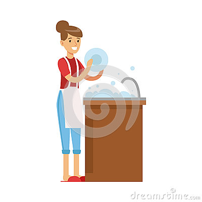 Woman Housewife Washing The Dishes In Kitchen Tap, Classic Household Duty Of Staying-at-home Wife Illustration Vector Illustration
