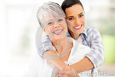 Woman hugging mother