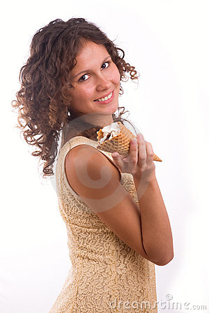 Woman With Ice Cream Royalty Free Stock Photo - Image: 14446025