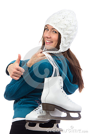Woman with  ice skates thumb up