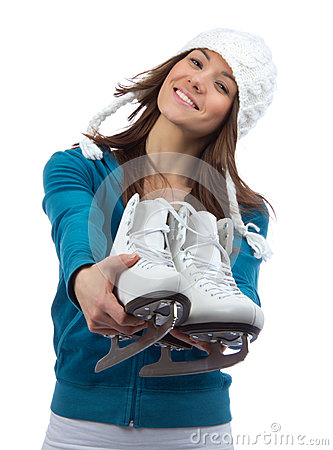Woman ice skates for winter  ice skating