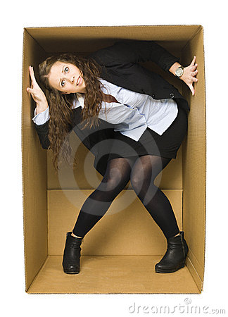 Free Woman In A Carboard Box Royalty Free Stock Photo - 22527945