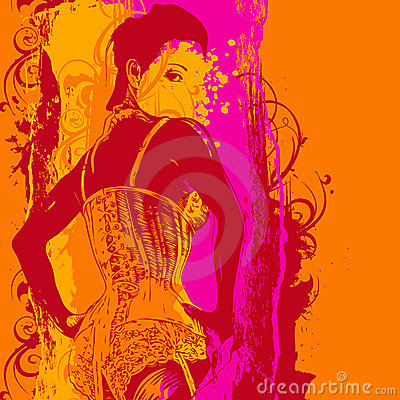 Free Woman In A Corset And Design Elements Stock Images - 9524524