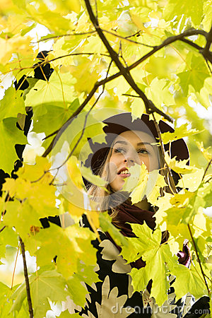 Free Woman In A Floral Patterned Coat And Wine Red Hat In The Park, By The River. Happy Girl, Colorful Autumn Forest. Portrait Of Lady Royalty Free Stock Photos - 83473478
