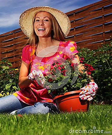 Free Woman In A Garden Royalty Free Stock Photos - 9921718