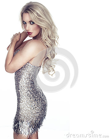 Free Woman In A Metallic Silver Cocktail Dress Stock Photos - 35671903
