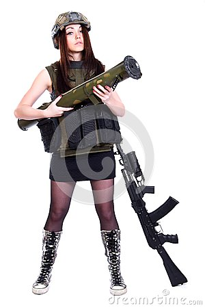 Free Woman In A Military Camouflage With A Grenade Launcher And An As Stock Image - 51367981
