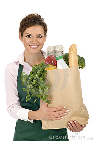 Free Woman In Apron Holding Grocery Bag Stock Images - 6525854