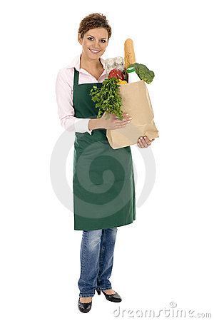 Free Woman In Apron Holding Grocery Bag Stock Photo - 6525860