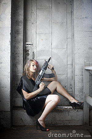 Free Woman In Black With Gun Stock Photos - 10417823
