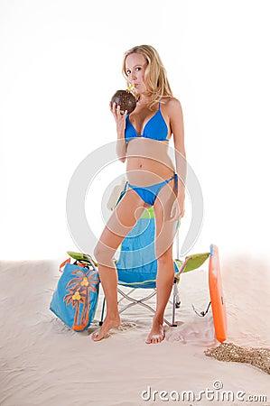 Free Woman In Blue Bikini On Beach Royalty Free Stock Photos - 5126708