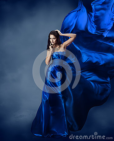 Free Woman In Blue Dress With Flying Silk Fabric Stock Photography - 31322102