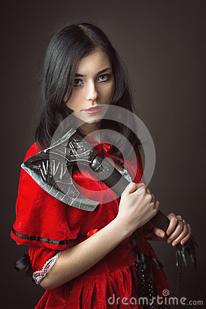 Free Woman In Carnival Costume. Little Red Riding Stock Photo - 61108970