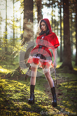 Free Woman In Carnival Costume. Little Red Riding Stock Images - 61109004