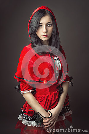 Free Woman In Carnival Costume. Little Red Riding Stock Photography - 61109012