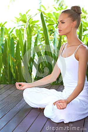 Free Woman In Deep Contemplation While Meditating Stock Photos - 25051353