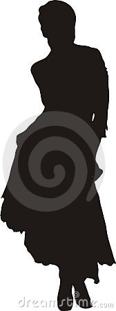 Free Woman In Dress In A Pose Silhouette Royalty Free Stock Photos - 515848