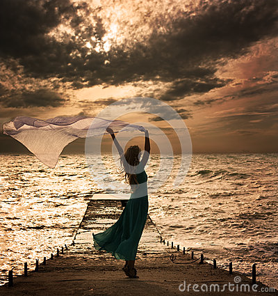 Free Woman In Dress With Fabric At Sea Stock Photography - 27999752