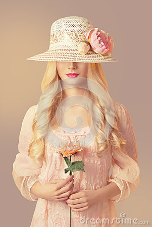 Free Woman In Fashion Straw Hat Holding Peony Flower, Girl Pink Dress Royalty Free Stock Photo - 88402735