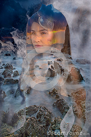 Free Woman In Fog And Rocks Stock Image - 51973711