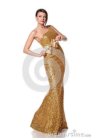 Free Woman In Golden Dress Stock Photos - 27105793