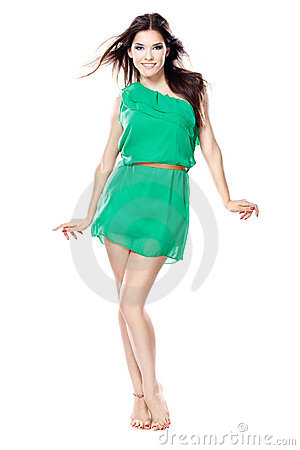 Free Woman In Green Dress Barefoot Stock Photo - 23000520
