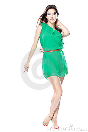 Free Woman In Green Dress Barefoot Stock Images - 23000524