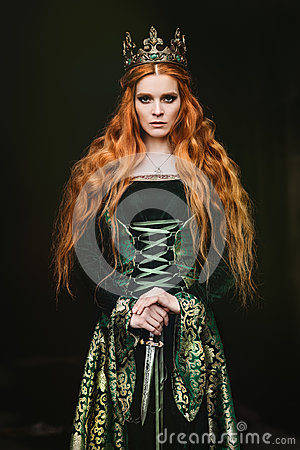 Free Woman In Green Medieval Dress Stock Image - 96979491