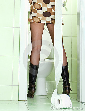 Free Woman In Green Toilet. Royalty Free Stock Photos - 7085448
