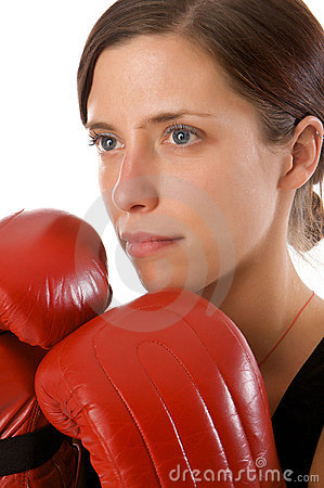 Free Woman In Gym Clothes, With Boxing Gloves, Strength Stock Images - 5282464
