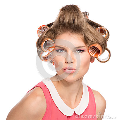 Free Woman In Hair Rollers Royalty Free Stock Images - 33744689