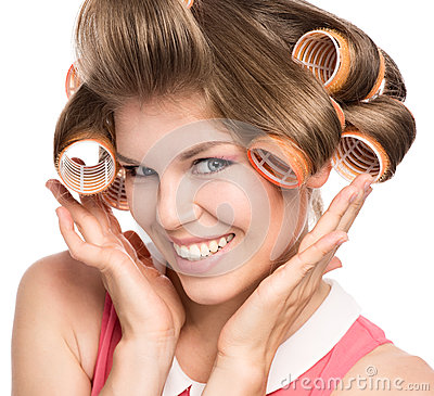 Free Woman In Hair Rollers Royalty Free Stock Photography - 33788217