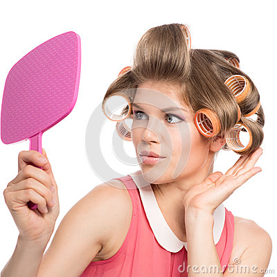 Free Woman In Hair Rollers Royalty Free Stock Photos - 33788468