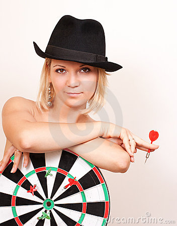 Free Woman In Hat Holds Board For Darts On White Royalty Free Stock Photo - 21287945