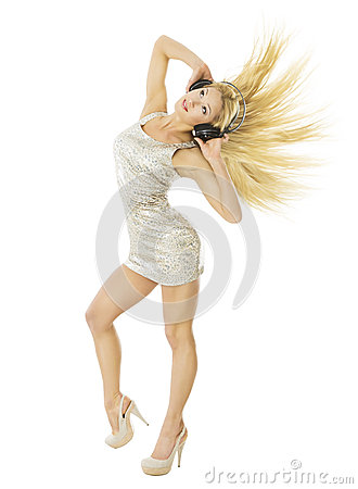 Free Woman In Headpnones Dancing Listening To Music, Isolated Over White Stock Images - 42955664