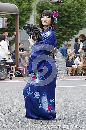 Free Woman In Kimono At Nagoya Festival, Japan Stock Image - 108453121