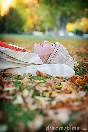Free Woman In Leaves Stock Image - 295371
